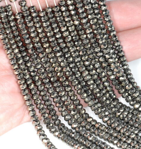 """4X3MM HEMATITE GEMSTONE PYRITE TONE FACETED RONDELLE 4X3MM LOOSE BEADS 16/"""""""