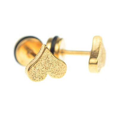 2Pcs Men Barbell Square Heart Punk Gothic Stainless Steel Ear Studs Earrings Hot