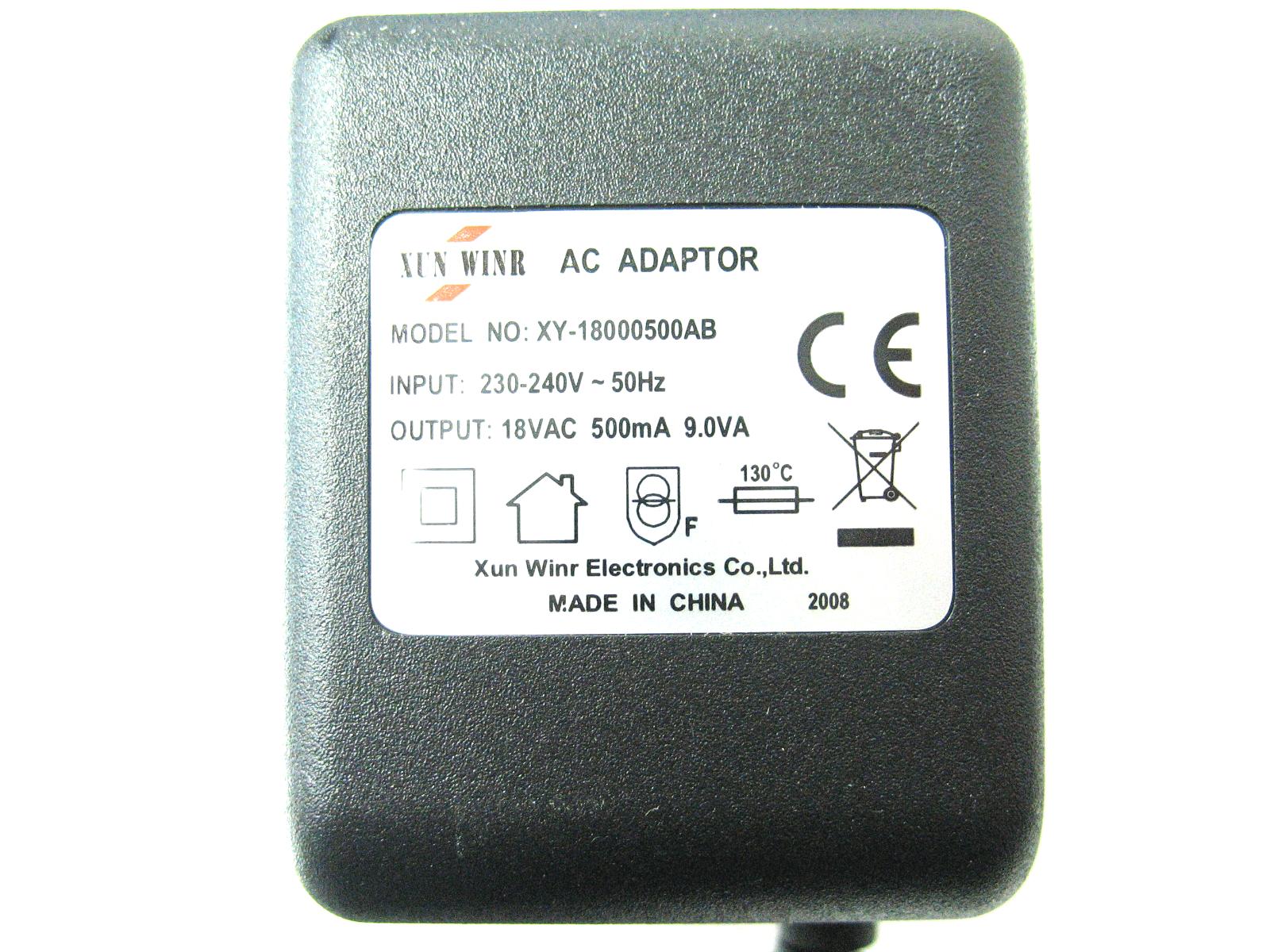 0.5 amp 18 volt AC-AC (AC Output) Mains Power Adaptor/Supply/Charger (9 watt)