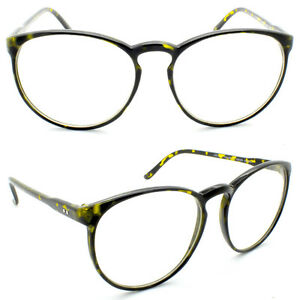 92addf7634 Image is loading Tortoiseshell-Tall-Round-Frame-Retro-Clear-Lens-Ladies-
