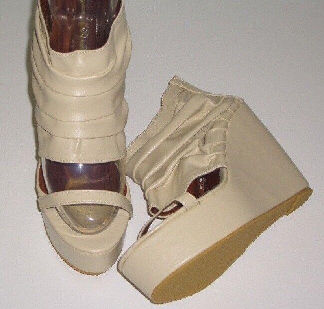 Sandalias Con Con Con Tacón de cuña y juntados Caña Beige mefzf TALLA 37 NUEVOS  descuento de ventas
