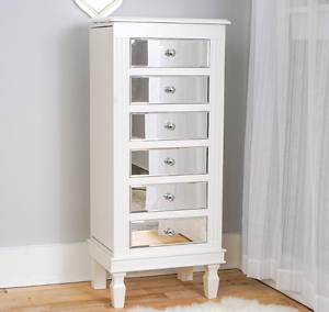 Jewelry Box Armoire White Mirrored Tall Stand Storage Wood