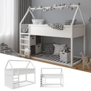 VITALISPA Hochbett Pinocchio Spielbett Kinderbett Erle weiß Jugendbett Hausbett
