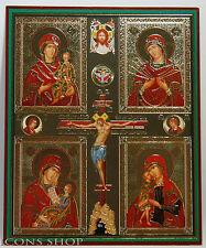 CRUCIFIXION Jesus Christ & 4 THEOTOKOS Virgin Mary Orthodox Icon