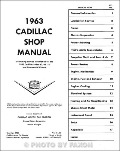 1963 Cadillac Shop Manual 63 Deville Eldorado Series 60 62 75 Fleetwood Repair