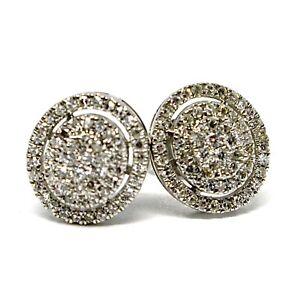 Boucles-D-039-Oreilles-or-Blanc-750-18K-Diamants-Carat-0-31-Bouton-Ovale-Pave