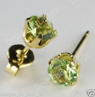 Studex Sensitive Gold 5mm Light Green Peridot August Birthstone Stud Earrings