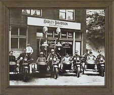 HARLEY DAVIDSON COPS B&W Old Time Photo 20x24 FRAMED PRINT PICTURE Motorcycle