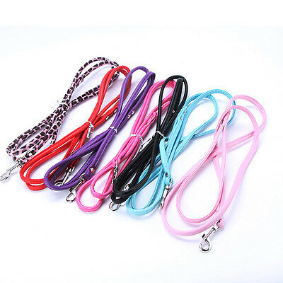 Colorful Small Dog Puppy Pet Dog Collar Leash Faux Leather Lead Rope Long Leash