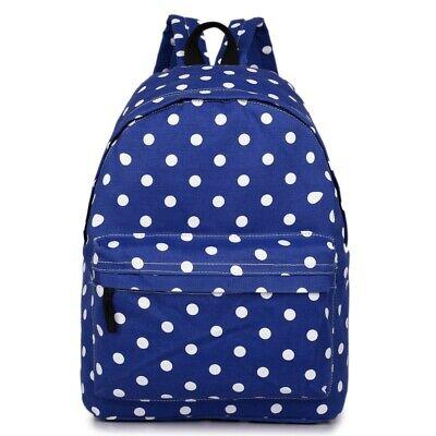 New Womens Polka Dot Print Canvas Single Pocket Backpack Girls School Bag
