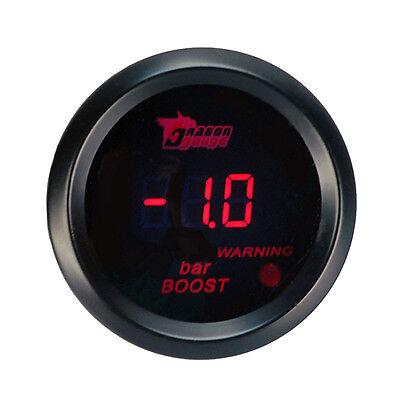 """2/"""" 52mm Car Motor Red LED Light Digital Bar Turbo Boost Gauge Meter Black Cover"""
