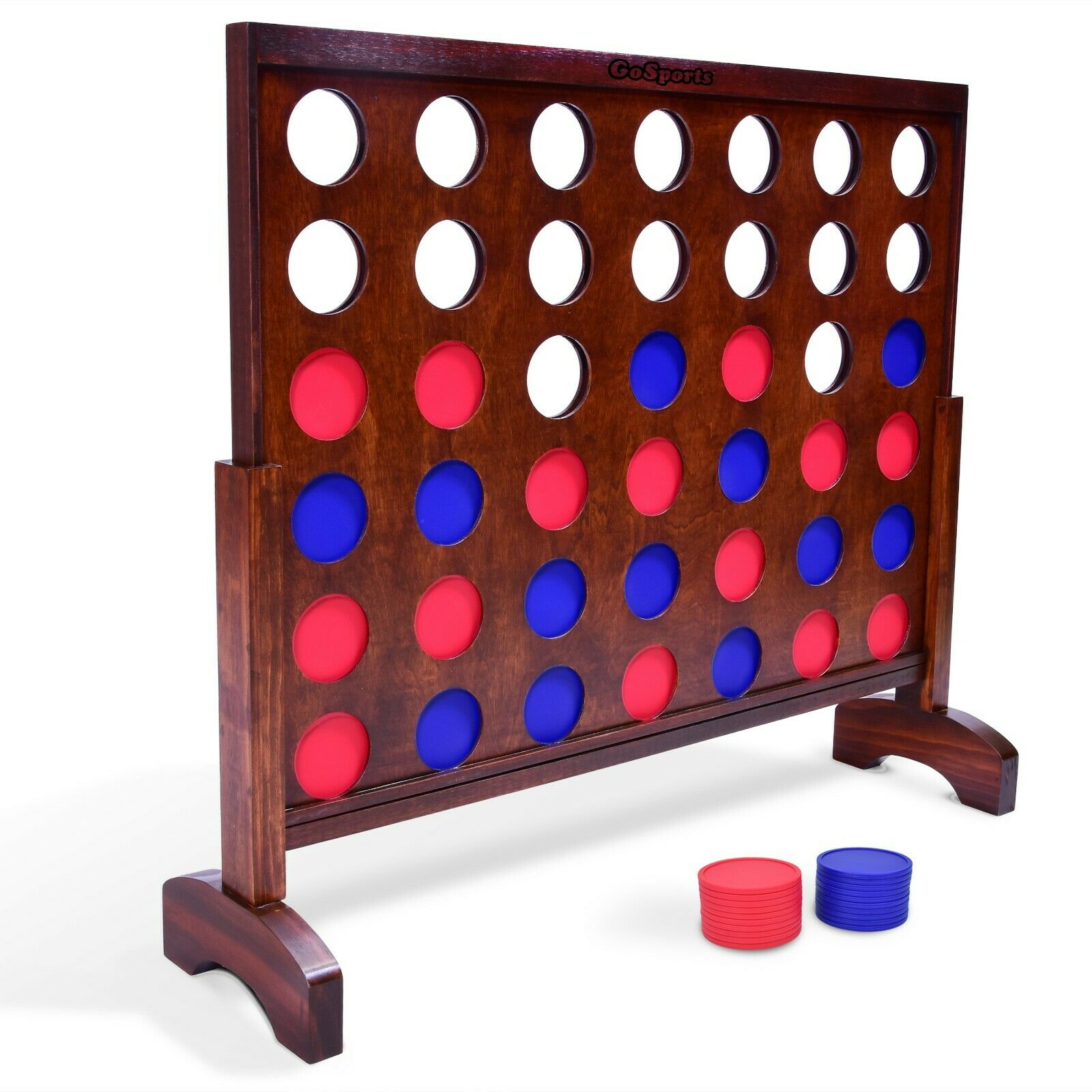 GoSports Giant 4 in a Row Game (3' Width) Dark Wood Stain - Includes Carry Case