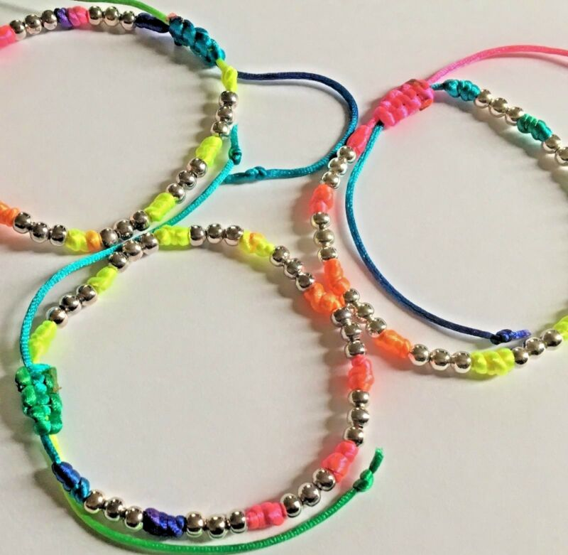 Stacker Bracelet : Multi-coloured Knotted With Silver Coloured Beads