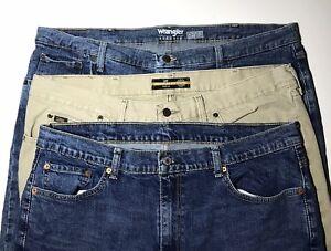 8009c80b Levi's 550 Wrangler Lee Mens Straight Leg Jeans Blue Tan 42 X 30 Lot ...