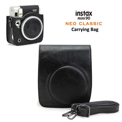 Black Leather Carry Cover Case Bag For Fujifilm Fuji Instax Mini 90 Camera UK
