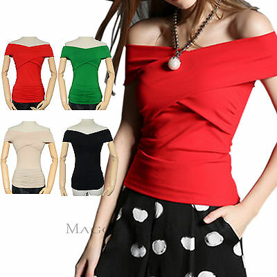 Maggie Tang Sexy Trendy Fitted Off Shoulder Cross Neck Blouse Solid Top T-shirt