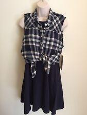 e45e5f34e Emerald Sundae Women's Juniors Shirt Dress Size Large Sleeveless Blue Plaid  New