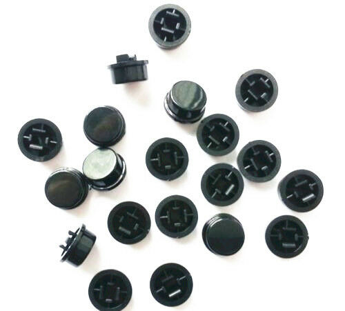 50pcs Black Round Tactile Button Caps For 12×12×7.3mm Tact Switches NEW S3
