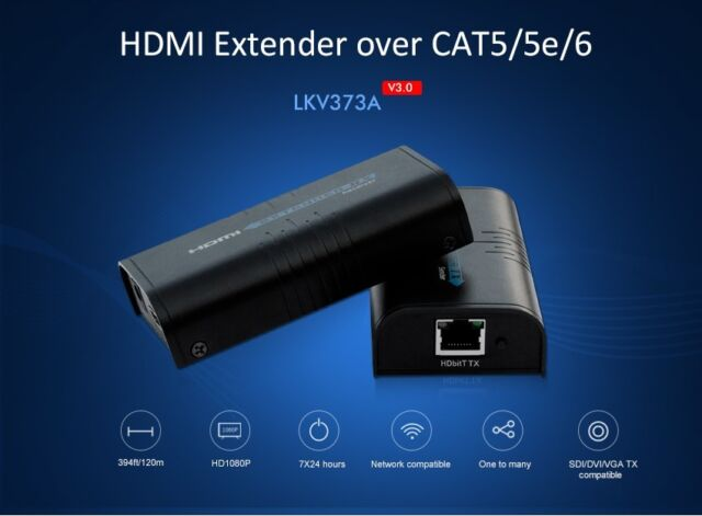 Lkv373a HDMI Extender Extra Transmitter 1080p to 120m Over LAN Rj45 Cat6/5  Cable