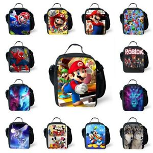 0ad228e6fdb1 Details about Kids Boys Girls Super Mario Unicorn Insulated Lunch Bag  School Travel Lunchbox