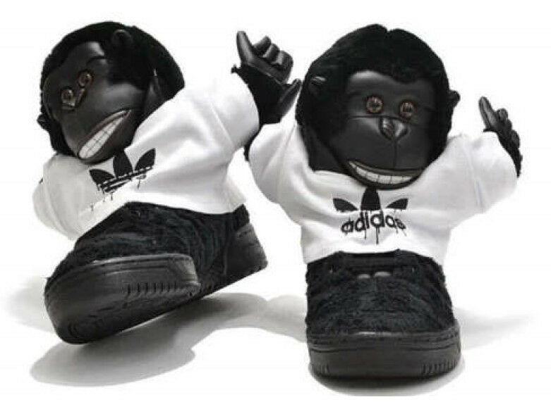 Jeremy Scott Adidas Gorilla  noir   Blanc  homme  sneakers trainers V24424 Taille US 11