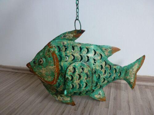 Pesce VENTO LUCE LANTERNA Gartendeko personaggio dekofigur verde in metallo 45 cm 204815
