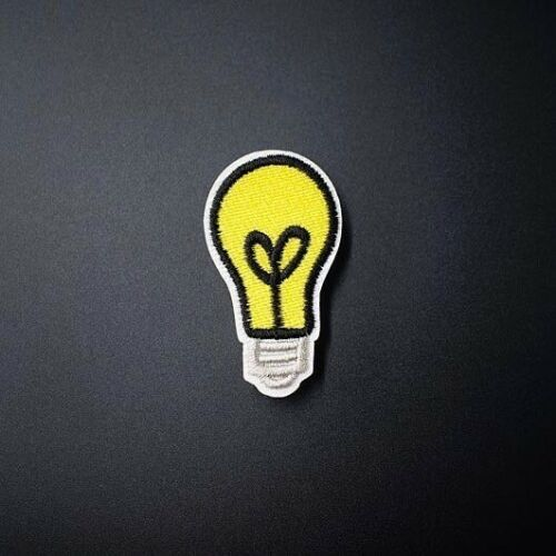 Woven IRON-ON PATCH Sew Embroidery Applique Fashion Badge MINI LIGHT BULB