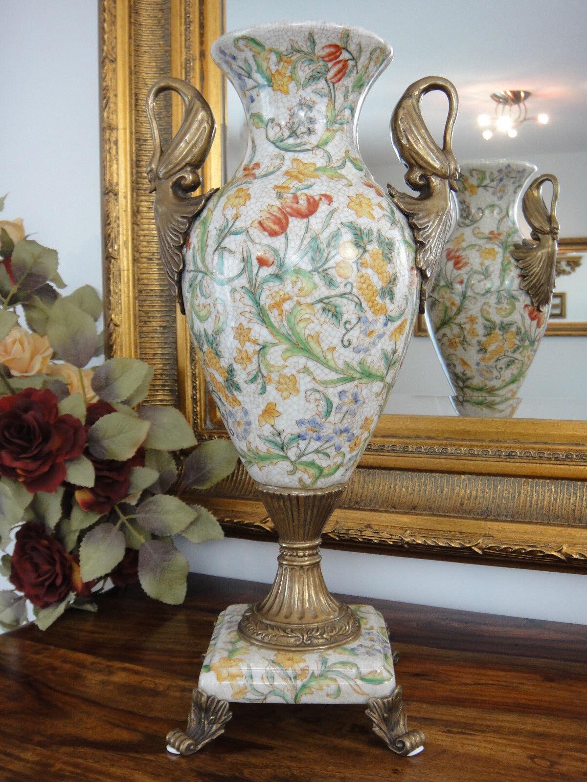 Luxus Prunkvase Porzellan Bronze Jugendstil Blaumenvase Antik Vase Pokal Amphore