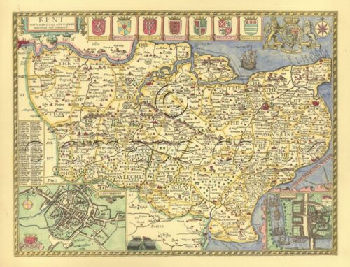 Kent Rochester Replica Old  John Speed Map c1610 - PRINTED Full Size Copy