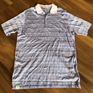PETER-MILLAR-Men-039-s-Purple-amp-Pink-Striped-Golf-Polo-Shirt-Size-L