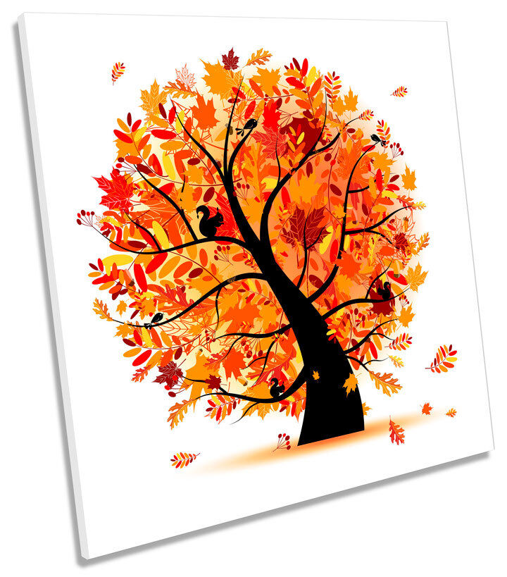 Autumn Tree Illustration SQUARE CANVAS WALL ART Print Picture