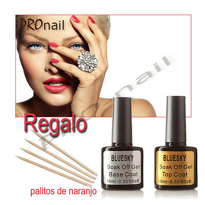 Esmalte permanente, Base y Top coat,  Bluesky gel  + REGALO  palitos de naranjo