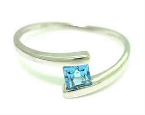 bluee Topaz 9ct 9K Solid White gold Fancy Dress Ring, 30 Day Refunds Free ship