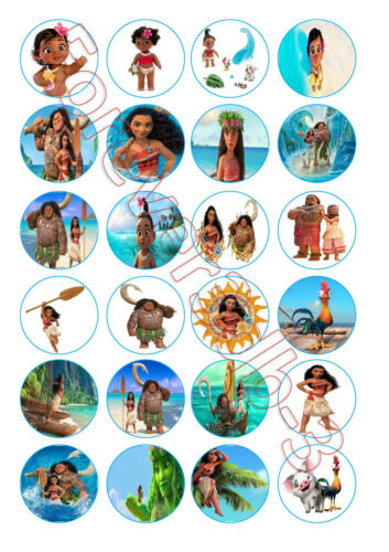 24 x 42 mm Moana Comestible Cupcake Toppers TRANCHE PAPIER