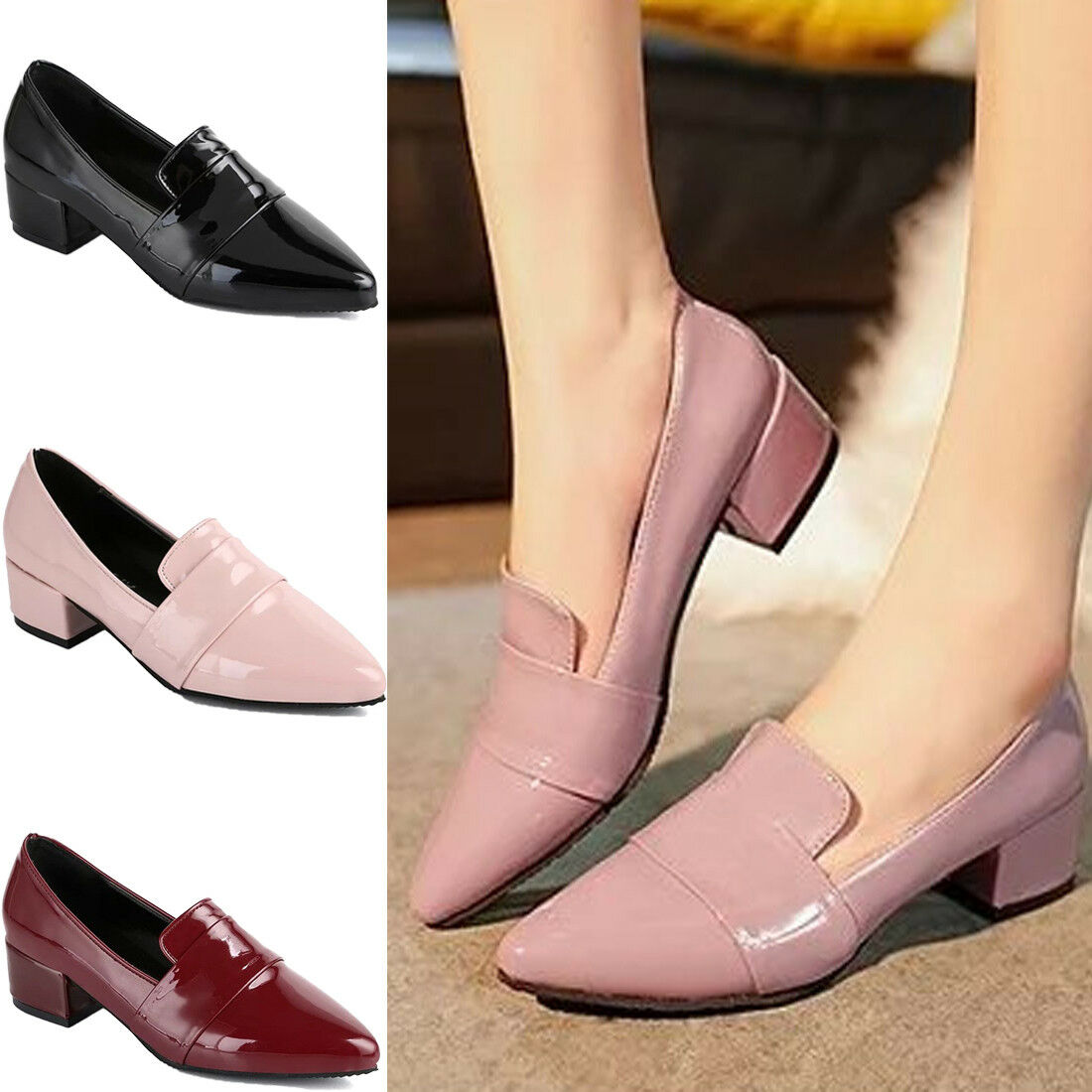 Summer Women's Mid Heels Block Slip On Pointed Ladies Pointed On Toe Shoes Pumps Work Size 073874