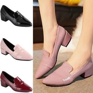 Summer-Women-039-s-Mid-Heels-Block-Slip-On-Ladies-Pointed-Toe-Shoes-Pumps-Work-Size