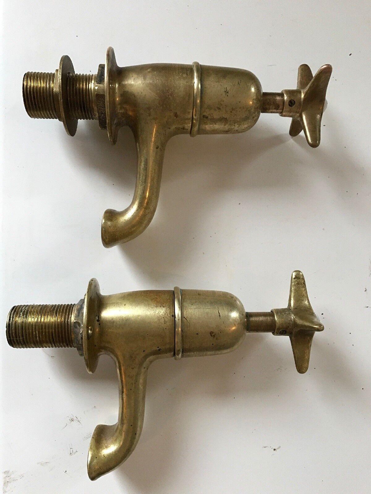 Vintage Laiton bain Robinets, énorme 1 in (environ 2.54 cm) robinets, en très bon état