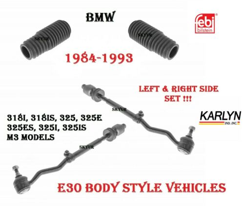 84-93 BMW 318i 318is 325e 325i 325is Left /& Right Steering Tie Rods /& Boots KIT