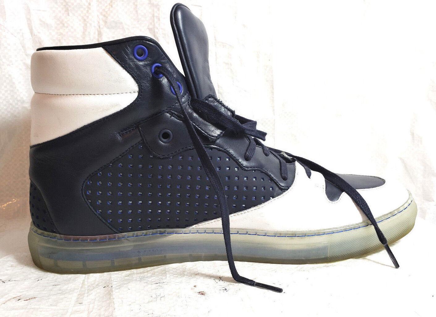 411dd0e2593940 BALENCIAGA Uomo High Top scarpe da ginnastica Pelle S. S. S. Gomme US 12 EU  46 blu bianca leather b05462