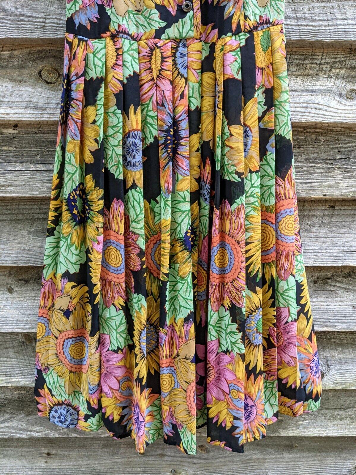 Vtg 90's Midi Dress Sunflowers RARE! Sundress Flo… - image 8