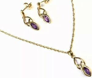 Vintage-9ct-Gold-Amethyst-Pendant-Chain-Necklace-amp-Post-Earrings-GIFT-BOXED