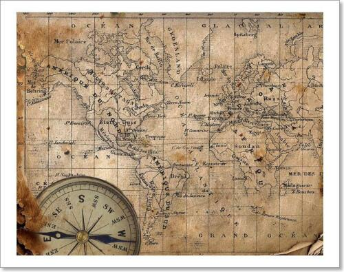 Ancient Map Of The World Art Print Home Decor Wall Art Poster