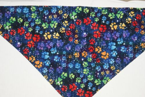 OVER THE COLLAR,clothes Size S,M,L,XL pet Dog Bandana Paw Prints on Navy!,