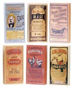 "Ohio Wholesale Primitive Wood Veterinary Remedies 6 Piece Set,4"" X 2"" X 3/4"" ea."