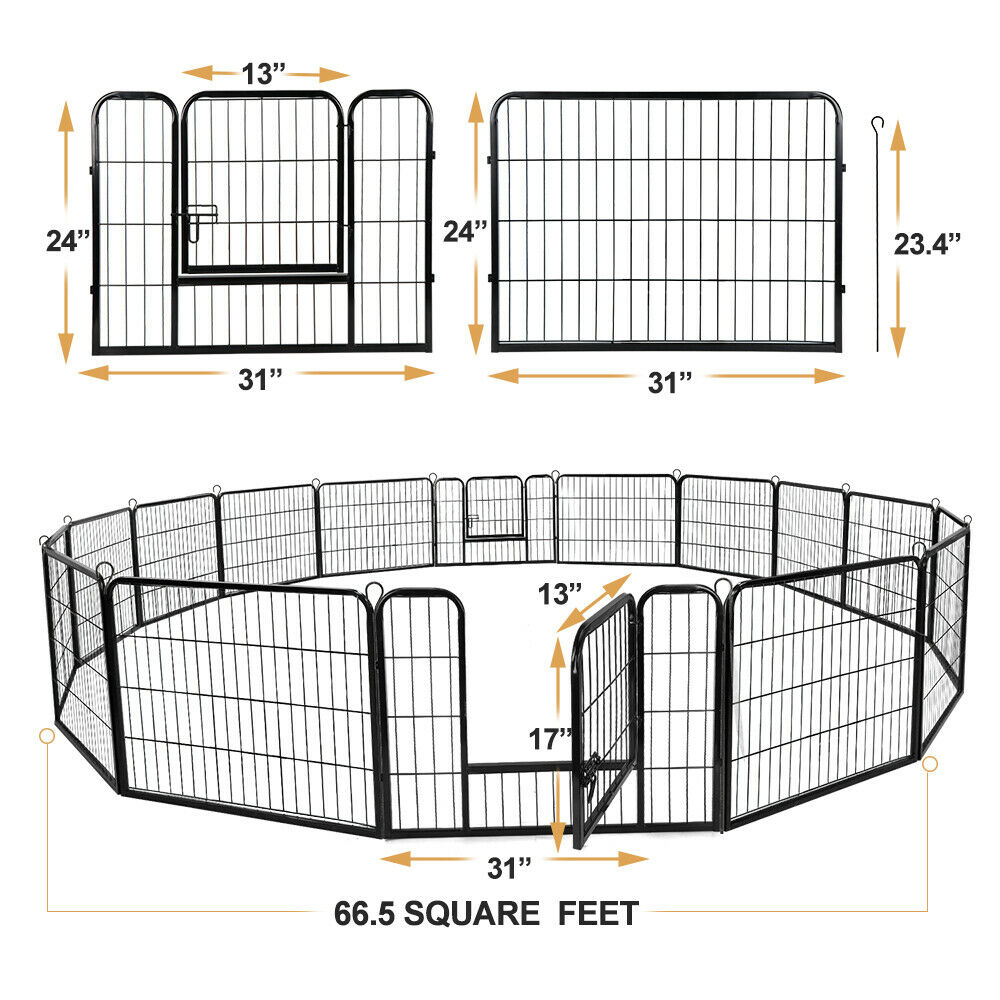 """24""""Tall 16 Panel Pet Playpen DIY Dog Exercise Pen Fence Have"""