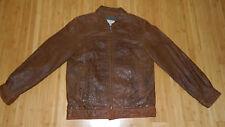 Wilsons M. Julian Distressed Pebbled Leather Full Zip Men Size Large L Brown
