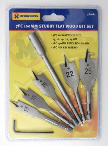 7 Piece Stubby Flat Wood Drill Bit Set Hex Shank With Extension Bit