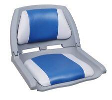 Folding Plastic Fishing Boat Seat - Grey / Blue