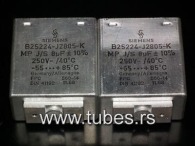 250V Klangfilm tube audio Two vintage Siemens PIO capacitors 4.0 uF