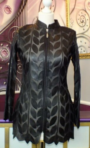 Femmes luxe CREATEUR joli Cuir Blazer//Chemisier//jacket Taille 34,40 NEUF